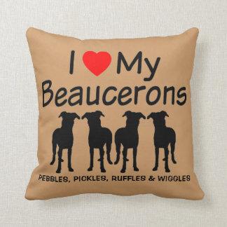 Ik houd van Mijn Vier Honden Beauceron Sierkussen