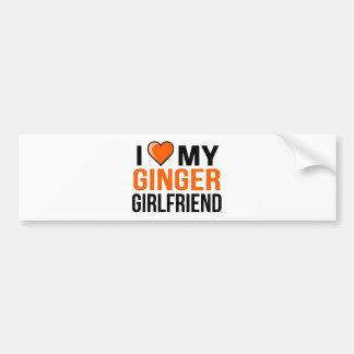 Ik houd van Mijn Vriendin van de Gember Bumpersticker