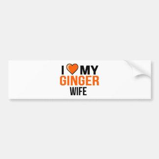 Ik houd van Mijn Vrouw van de Gember Bumpersticker