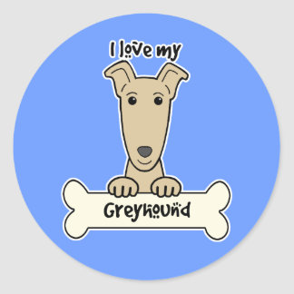 Ik houd van Mijn Windhond Ronde Sticker