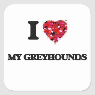 Ik houd van Mijn Windhonden Vierkant Sticker