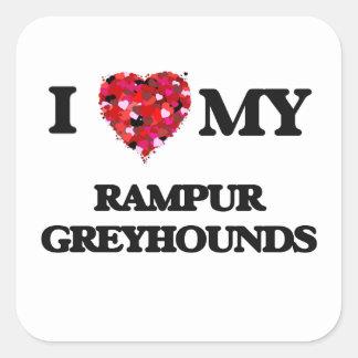 Ik houd van mijn Windhonden van Rampur Vierkant Stickers