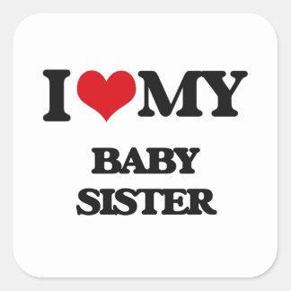 Ik houd van mijn Zuster van het Baby Vierkant Stickers