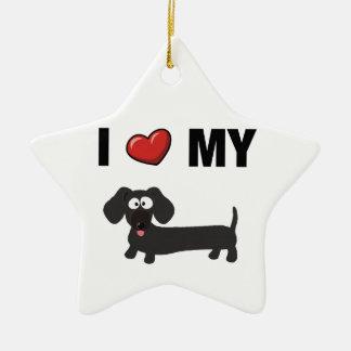 Ik houd van mijn (zwarte) tekkel keramisch ster ornament