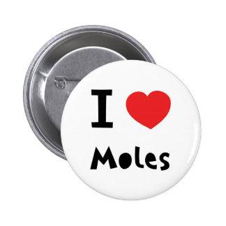 Ik houd van mollen ronde button 5,7 cm