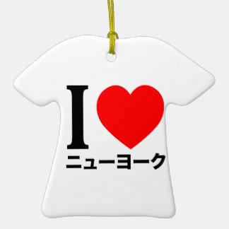 Ik houd van New York (in Japanner) Keramisch T-Shirt Ornament