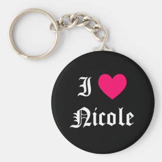 Ik houd van Nicole Basic Ronde Button Sleutelhanger