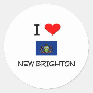 Ik houd van Nieuw Brighton Pennsylvania Ronde Sticker