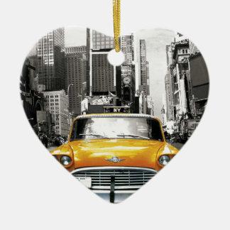 Ik houd van NYC - de Taxi van New York Keramisch Hart Ornament