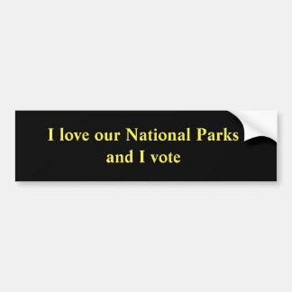 Ik houd van onze Nationale Parken en ik stem Bumpersticker