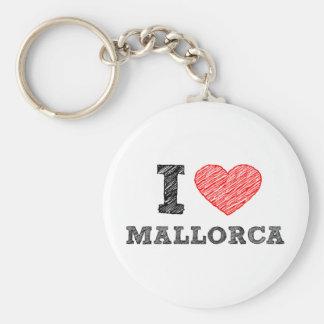 Ik houd van Palma DE Mallorca Basic Ronde Button Sleutelhanger