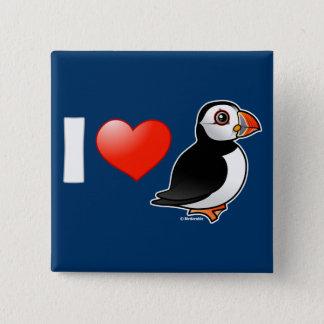 Ik houd van Papegaaiduikers Vierkante Button 5,1 Cm
