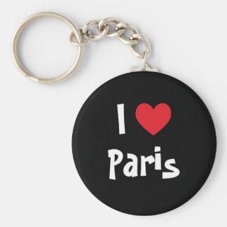 Ik houd van Parijs Basic Ronde Button Sleutelhanger