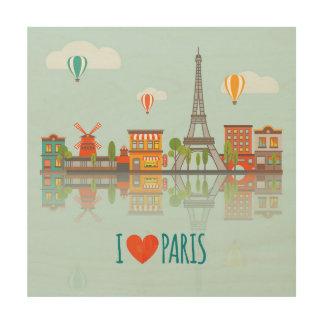 Ik houd van Parijs | Cityscape Ontwerp Hout Afdruk