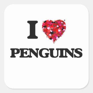 Ik houd van Pinguïnen Vierkante Sticker