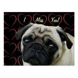 Ik houd van Pugs met Harten Briefkaart