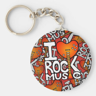 Ik houd van rock basic ronde button sleutelhanger