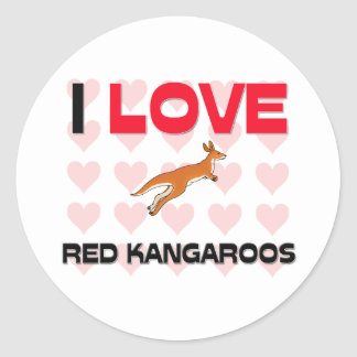 Ik houd van Rode Kangoeroes Ronde Sticker