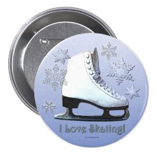 Ik houd van schaatsend ronde button 7,6 cm
