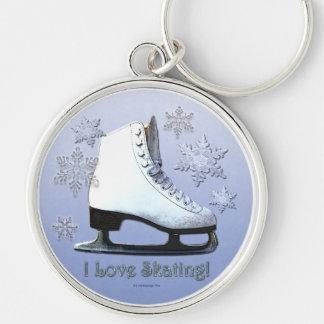 Ik houd van schaatsend zilverkleurige ronde sleutelhanger