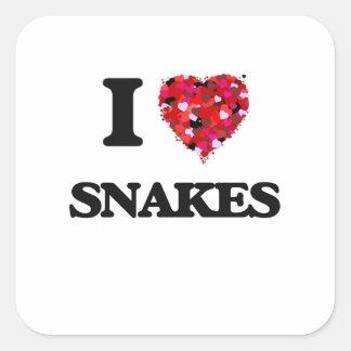 Ik houd van Slangen Vierkante Sticker