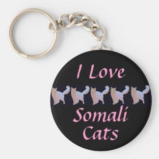 Ik houd van Somalische Katten Basic Ronde Button Sleutelhanger