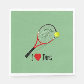 Ik houd van Tennis, tennisbal en racket Papieren Servetten