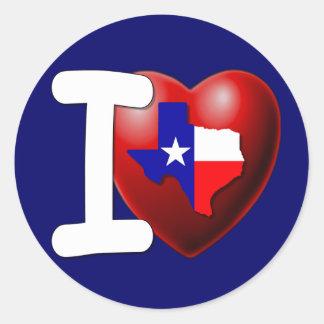 Ik houd van Texas - de Eenzame Staat van de Ster Ronde Sticker