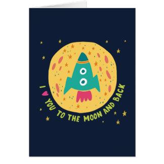 Ik houd van u aan de Maan en AchterRocketship Wenskaart