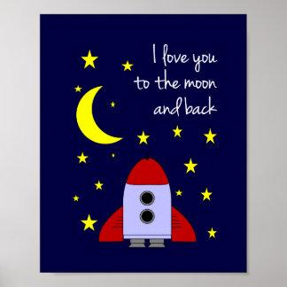 Ik houd van u aan de Maan en de AchterDruk van de  Poster
