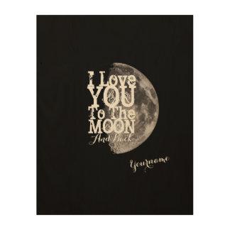 Ik houd van u aan de Maan en de Rug Afdruk Op Hout