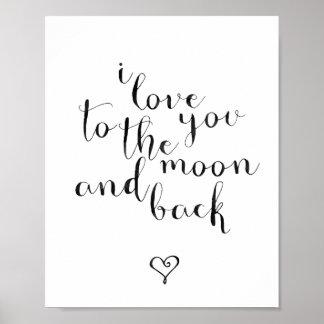 Ik houd van u aan de Maan en de Rug Poster