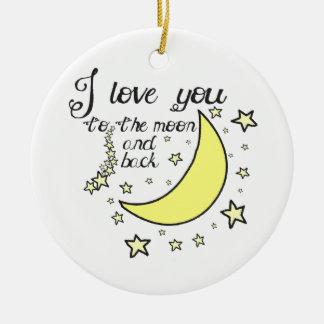 Ik houd van u aan de maan en de rug rond keramisch ornament