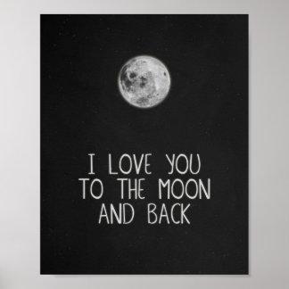 Ik houd van u aan de Maan en het AchterArt. van Poster