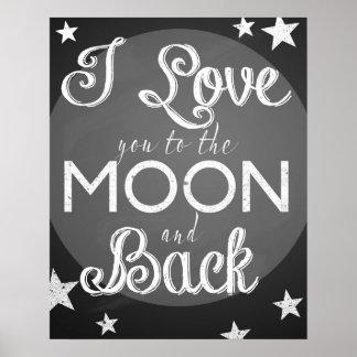 Ik houd van u aan de maan en het achterbordposter poster