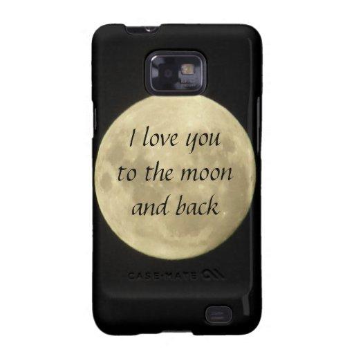 Ik houd van u aan de maan en het achtergeval Samsu Samsung Galaxy S2 Hoesje