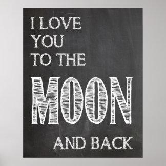 Ik houd van u aan de maan en het achterposter poster