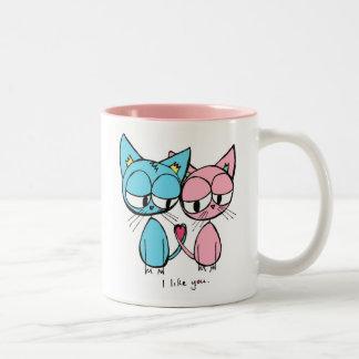 ik houd van u - de blauwe en roze mok van de katte