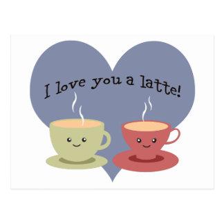 Ik houd van u een latte! briefkaart
