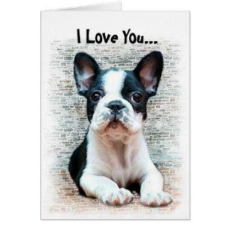 Ik houd van u het Franse puppy van de Buldog Briefkaarten 0