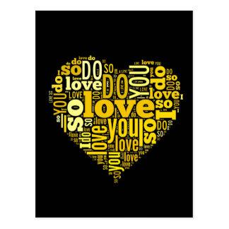 Ik houd van u het Gele Zwarte Art. van de Lyrische Briefkaart