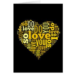 Ik houd van u het Gele Zwarte Art. van de Lyrische Wenskaart