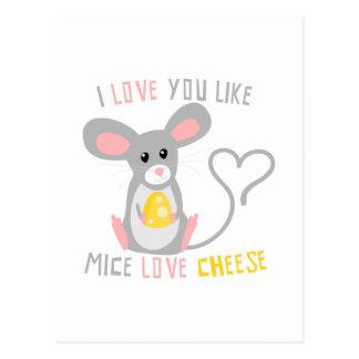 Ik houd van u houd van de Kaas van de Liefde van Briefkaart