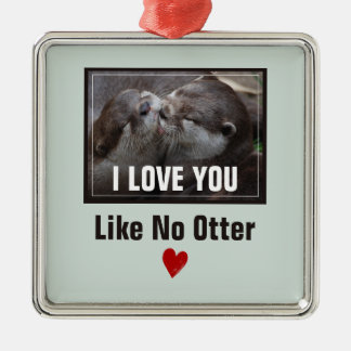 Ik houd van u houd van Geen Leuke Foto van de Zilverkleurig Vierkant Ornament