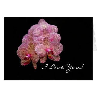 Ik houd van u - Orchidee tegen zwarte Wenskaart