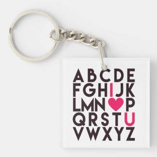 Ik HOUD van U - Romantisch Alfabet Sleutelhanger