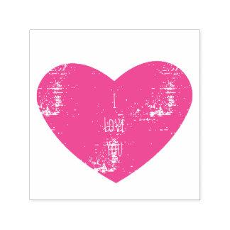 Ik houd van u roze gepersonaliseerd hart  zelfinktende stempel