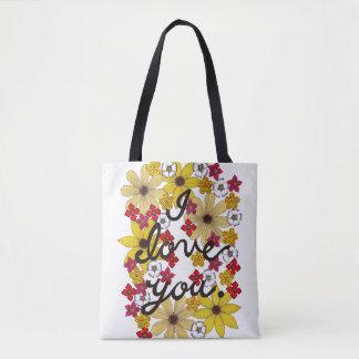 Ik houd van u Typografie met Gele Bloemen Draagtas