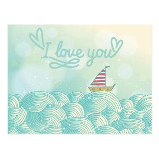 Ik houd van u Zeilboot Briefkaart