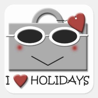 Ik houd van vakantie vierkante sticker